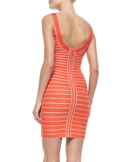 Indra Chevron-Textured Bandage Dress