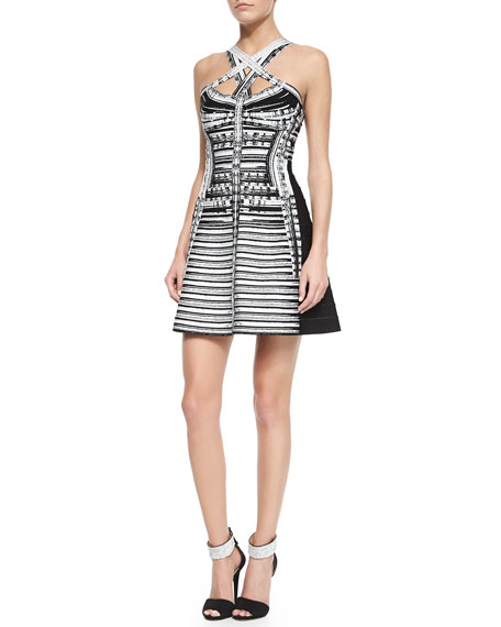 Herve Leger Crisscross-Neck Abstract Brushstroke Dress