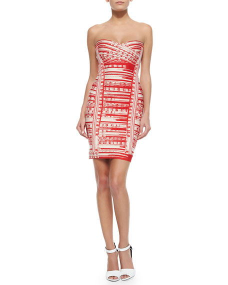 Herve Leger Maricel Abstract Brushstroke Sheath Dress
