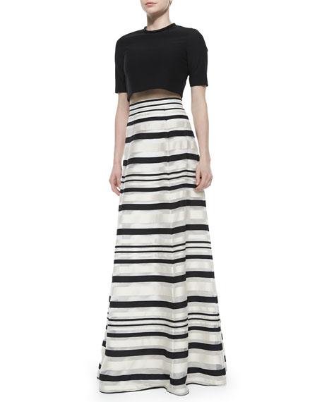Zaniyah Striped Long Skirt, French Vanilla