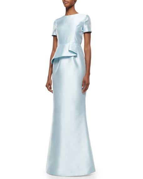 Kloni Peplum Trumpet Gown, Crystal Blue