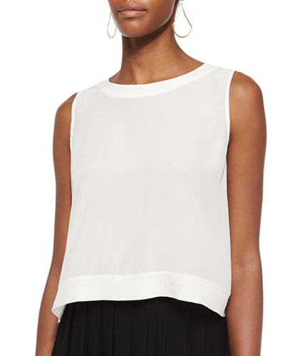 Button-Back Silk Crop Shell, Petite