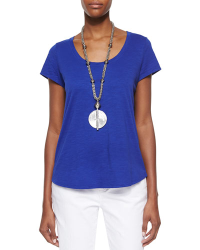 Slubby Short-Sleeve Scoop-Neck Tee, Petite