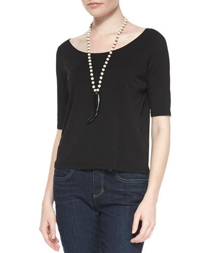 Half-Sleeve Silk Jersey Tee, Black