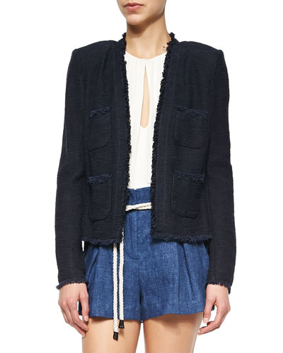 Short Tweed Woven Frayed Jacket, Navy
