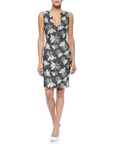 Sleeveless Palm Tree-Print Shift Dress, Linen Palm/Midnight