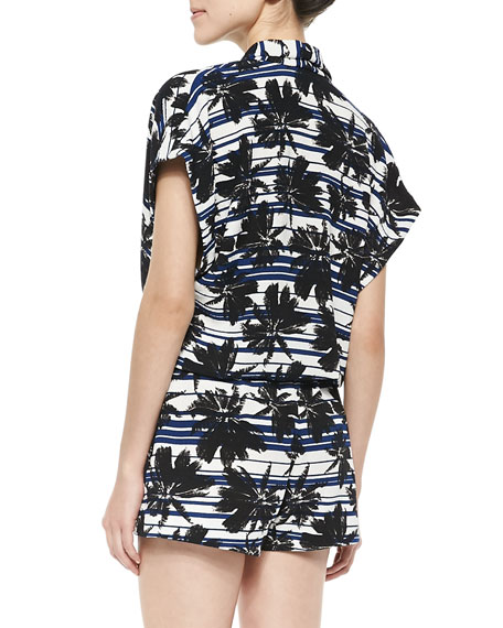 L'Agence Stretch-Knit Palm Tree-Print Romper, Marine Stripe