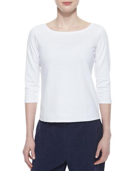 Eileen Fisher 3/4-Sleeve Cotton Tee, Plus Size