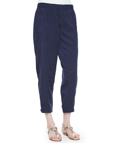 Twill Button-Cuff Ankle Pants, Women's