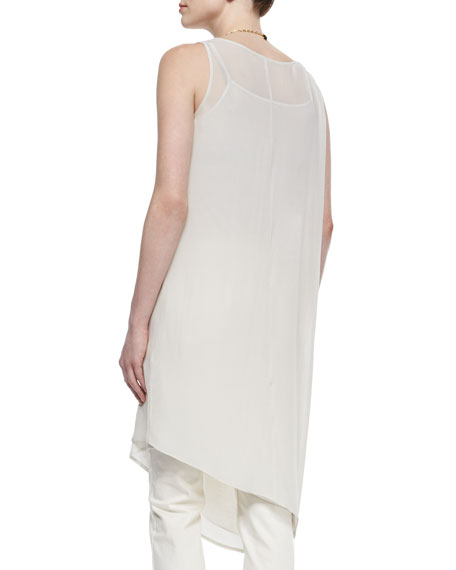 Sleeveless Asymmetric Knee-Length Dress, Petite