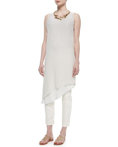 Sleeveless Asymmetric Knee-Length Dress, Petite