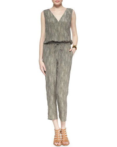 Eileen Fisher Fisher Project Sleeveless Silk Animal-Print Jumpsuit