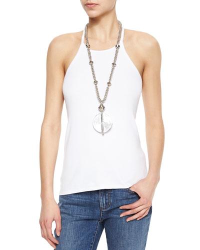 Halter Ribbed Yoga Cami, White