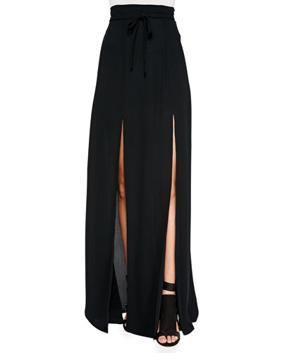 Long Double-Slit Skirt, Black