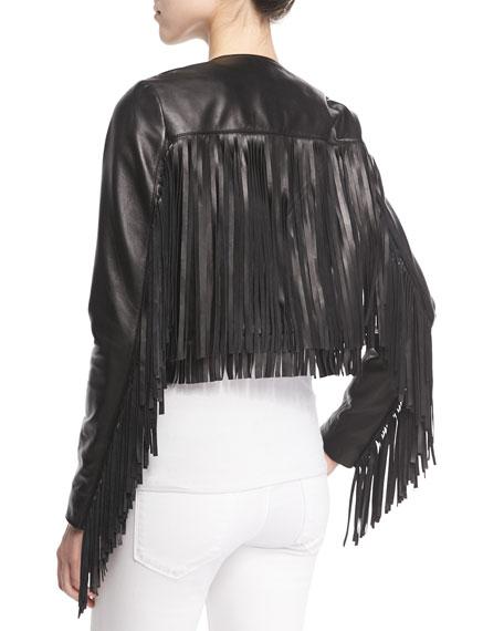 Cropped Leather Fringe Jacket