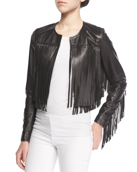 Bagatelle Cropped Leather Fringe Jacket | Neiman Marcus
