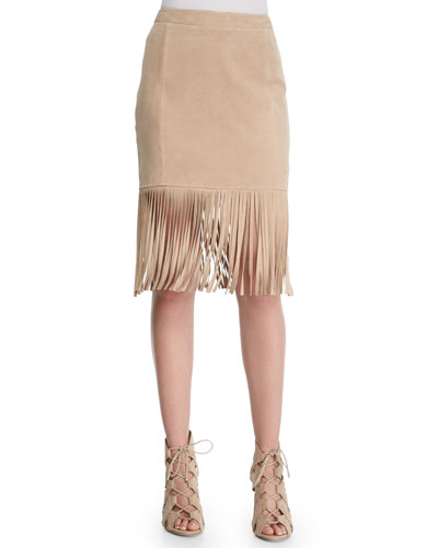 Fringe-Hem Suede Pencil Skirt, Tan