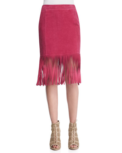 Fringe-Hem Suede Pencil Skirt, Cranberry