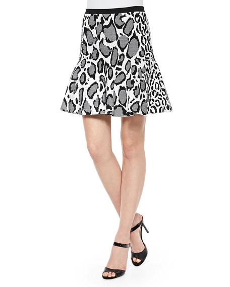 Ohne Titel Flare-Hem Leopard-Print Skirt