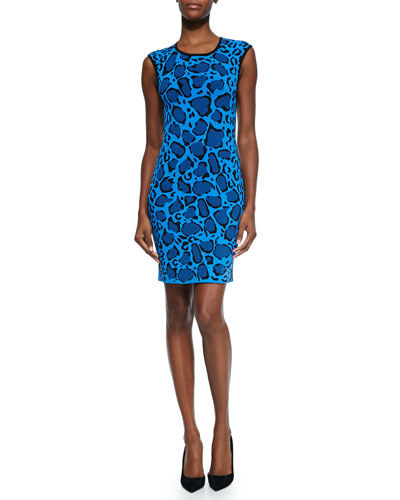 Leopard-Print Reversible Knit Dress, Blue/Black