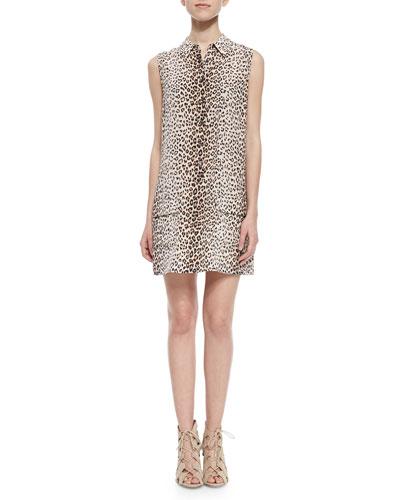 Lucida Leopard-Print Silk Shirtdress