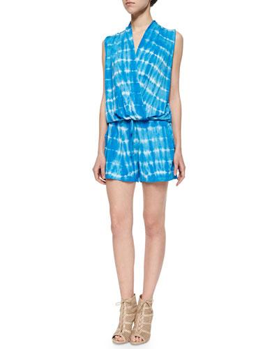Myla Tie-Dye-Stripe Short Jumpsuit