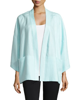 Cherise Linen 3/4-Sleeve Topper, Breeze