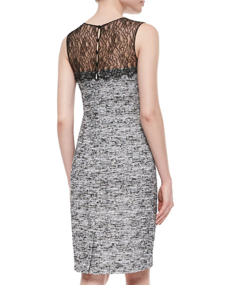 Sleeveless Tweed Sheath Dress W/ Lace Yoke