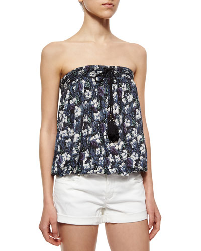 Strapless Floral-Print Top