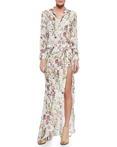 Floral-Print Short Jumpsuit with Maxi Skirt