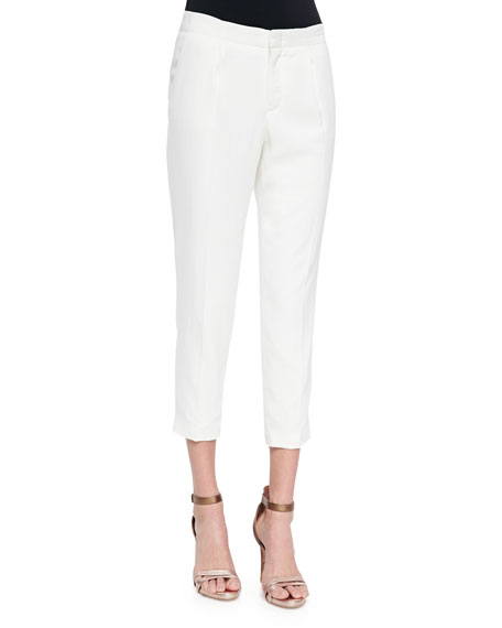 Haute Hippie Straight-Leg Cropped Crepe Pants