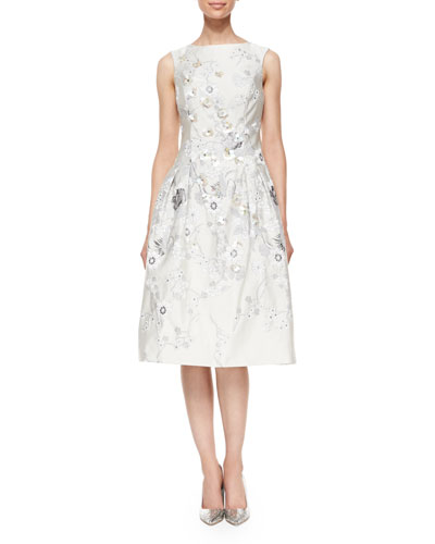 Sleeveless Embroidered Tea-Length Dress