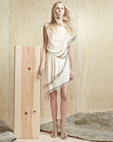 Haute Hippie Grommet/Nailhead-Trim Asymmetric Dress