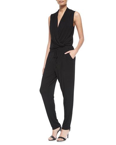 Myla Surplice-Front Jumpsuit, Black