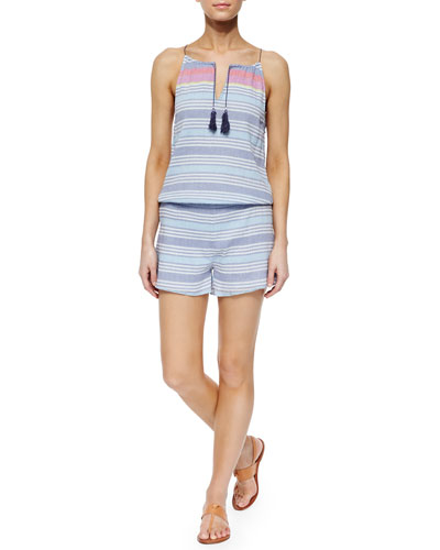 Pear Striped Romper, Stonewash Multi
