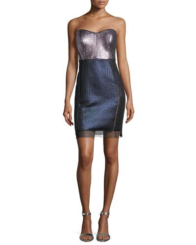 Strapless Sweetheart Metallic Colorblock Dress