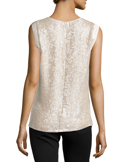Gayle Sequined Silk Tank