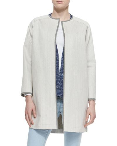 Contrast-Trim Long Coat