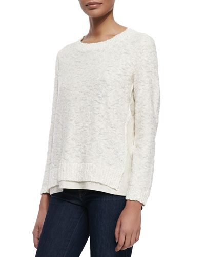 Nubby Sweater W/Linen Trim, Raffia
