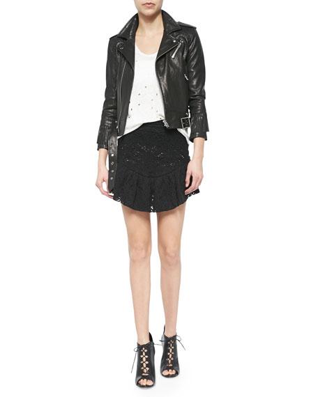 Filen Flounce-Hem Lace Miniskirt, Black