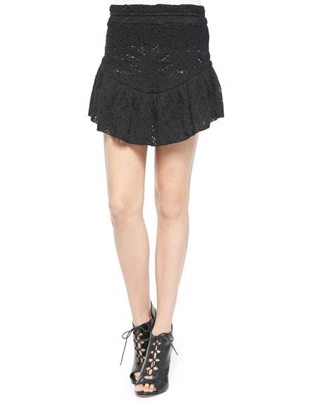 IRO Filen Flounce-Hem Lace Miniskirt, Black