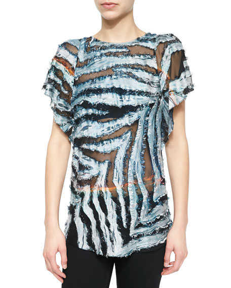 IRO Onara Burnout Short-Sleeve Top