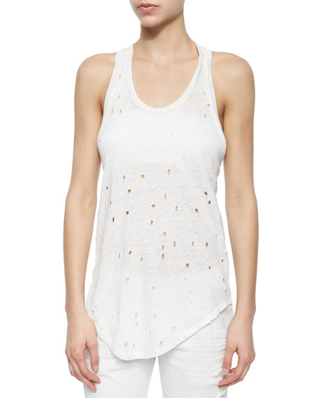 IRODoris Sleeveless Perforated Linen Top, Ecru