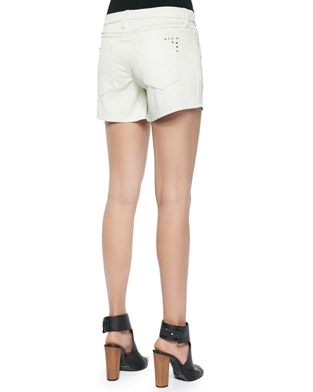 Woven Leather Braided-Detail Shorts, White