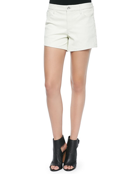 IRO Woven Leather Braided-Detail Shorts, White