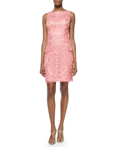 Embroidered Lace Sheath Cocktail Dress, Coral
