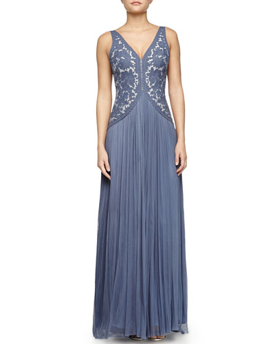Silk Tulle Gown with Embroidered Bodice