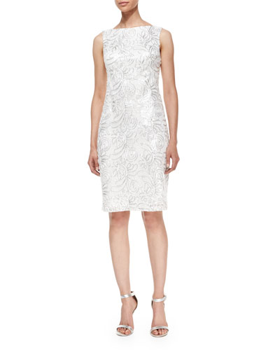 Sleeveless Sequined Embroidered Sheath Cocktail Dress