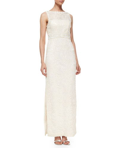 Sleeveless Embroidered Column Gown