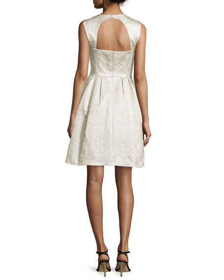 Cloque Cocktail Dress with Back Cutout